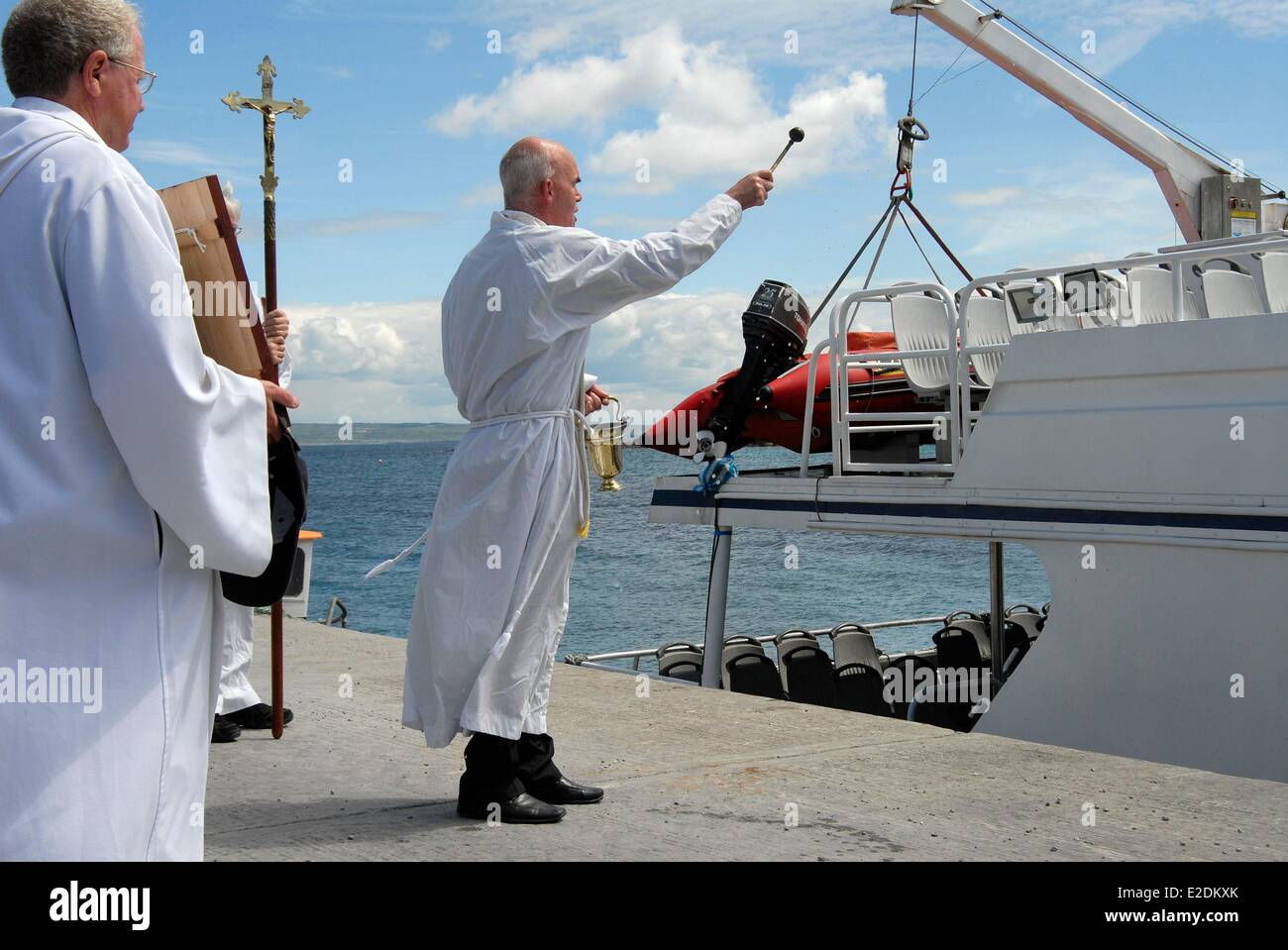 Ireland County Galway Aran Islands Inisheer religious procession in honor of Saint Kevin blessing the boats - Stock Image