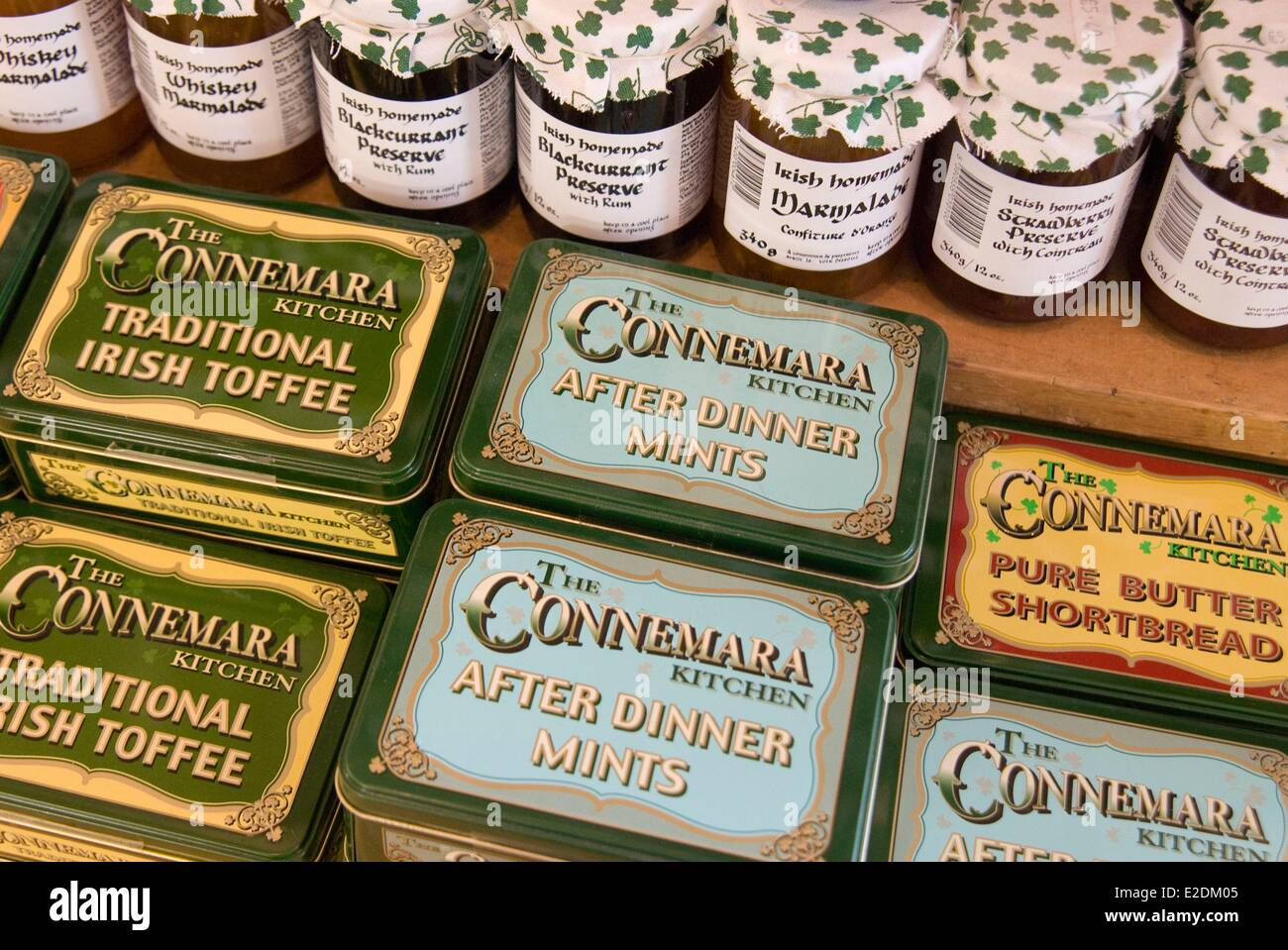 Ireland Galway County Maam Cross Connemara jams and sweets in a gift shop Stock Photo