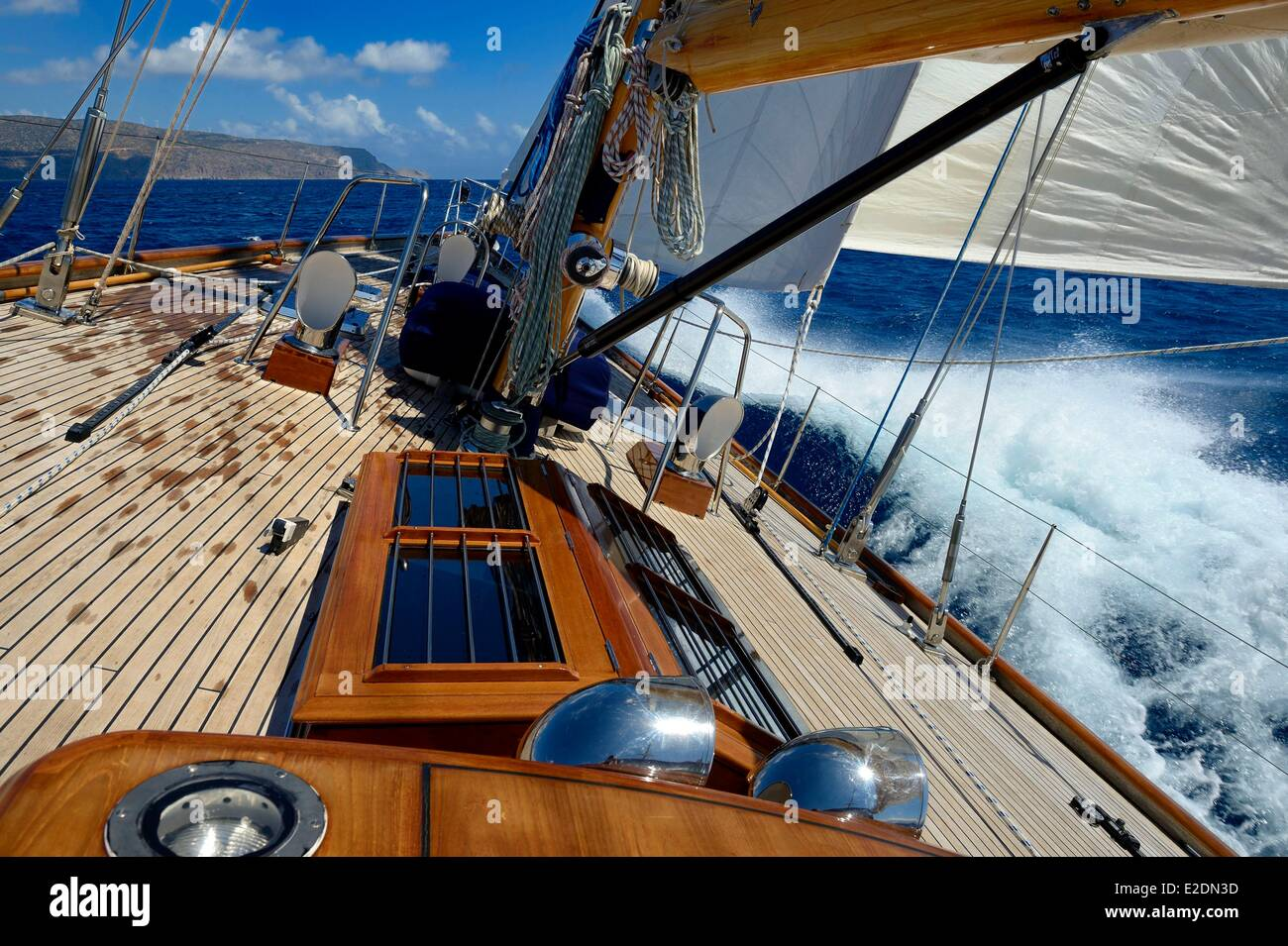 Greece Crete Agios Nikolaos region Elounda 22 meters sailing boat - Stock Image