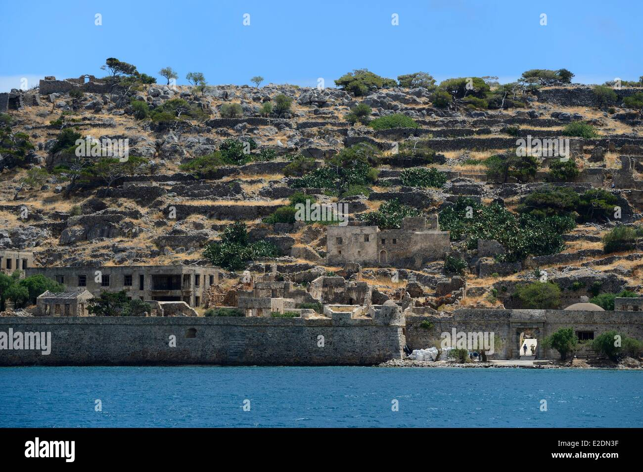 Greece Crete Agios Nikolaos region Elounda island Spinalonga Fort (Kalydon) Venetian fortress - Stock Image