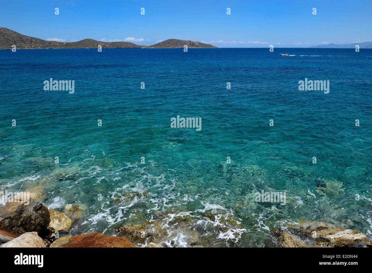 Greece Crete Agios Nikolaos region Elounda coast Stock Photo