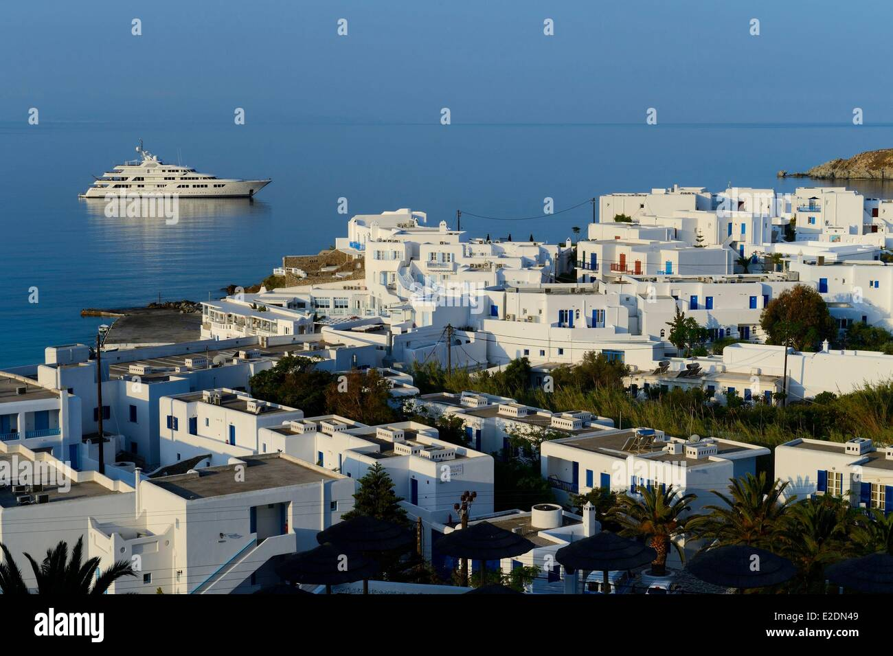 Greece Cyclades islands Mykonos island village of Platis Gialos Stock Photo