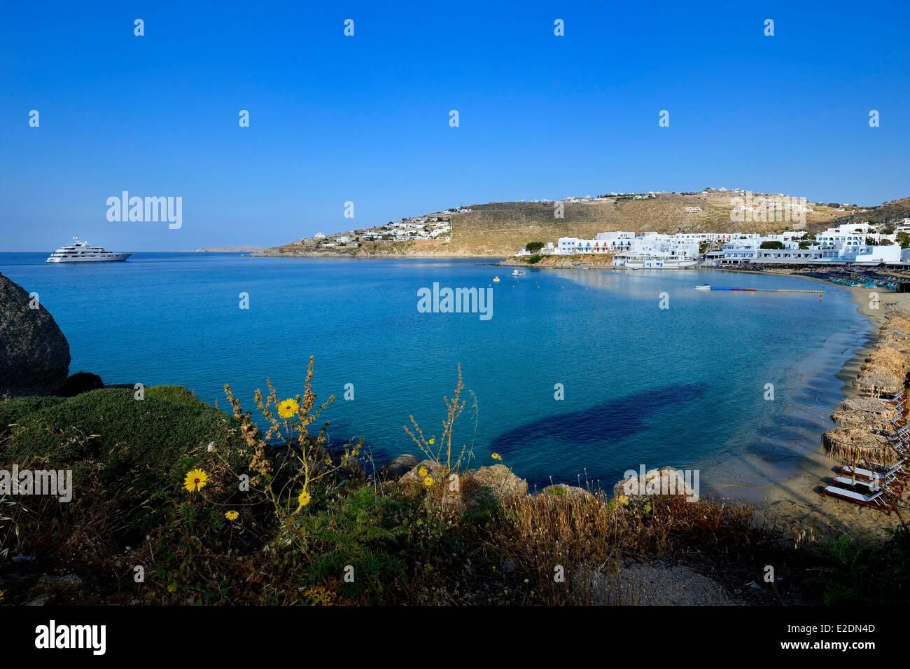 Greece Cyclades islands Mykonos island village of Platis Gialos - Stock Image