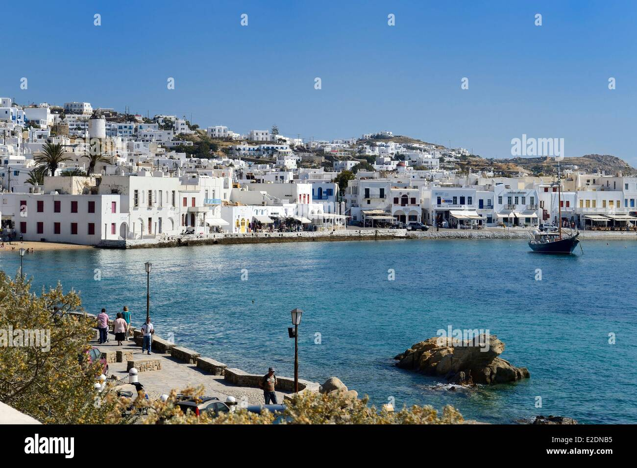 Greece Cyclades islands Mykonos island Chora (Mykonos town) the old harbour - Stock Image