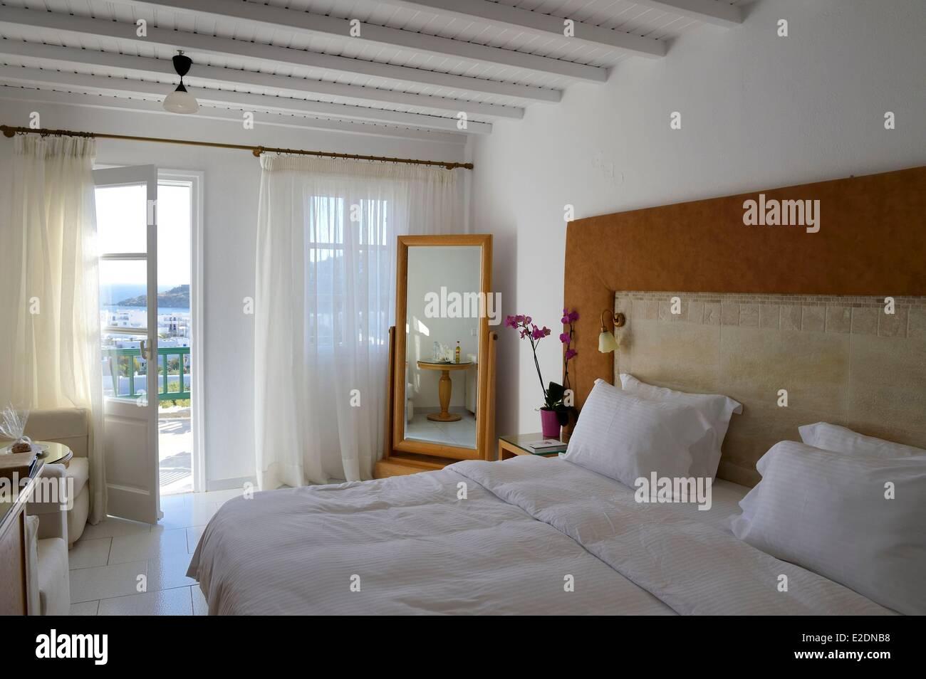 Greece Cyclades islands Mykonos island village of Platis Gialos Relais & Chateaux hotel Myconian Ambassador - Stock Image