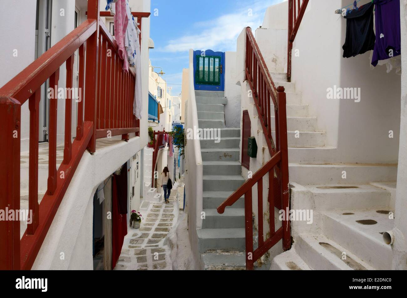 Greece Cyclades islands Mykonos island Chora (Mykonos town) in the streets of the old town - Stock Image