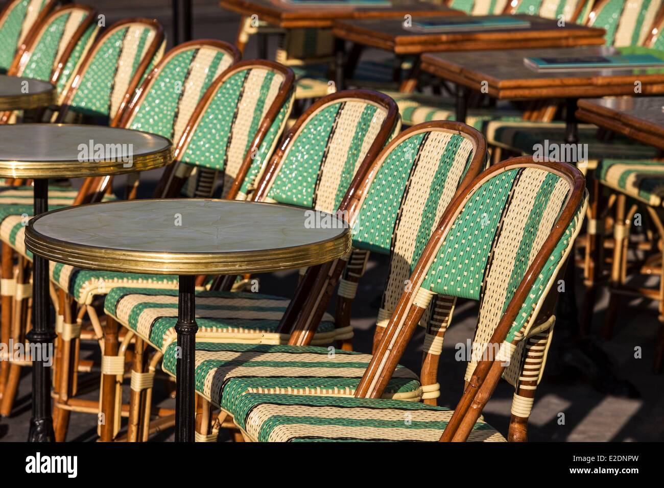 France Paris Bistro Chairs In A Cafe   Stock Image