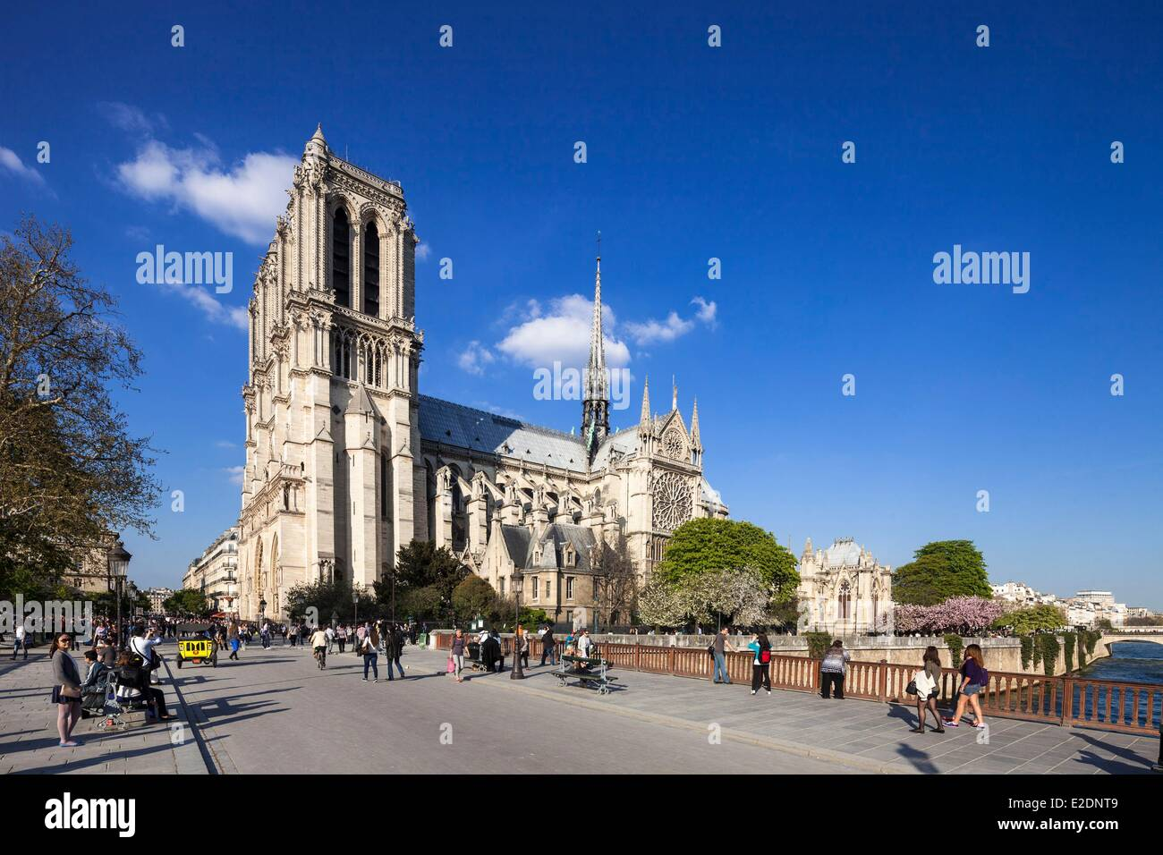 France Paris Notre Dame cathedral from the bridge Double - Stock Image