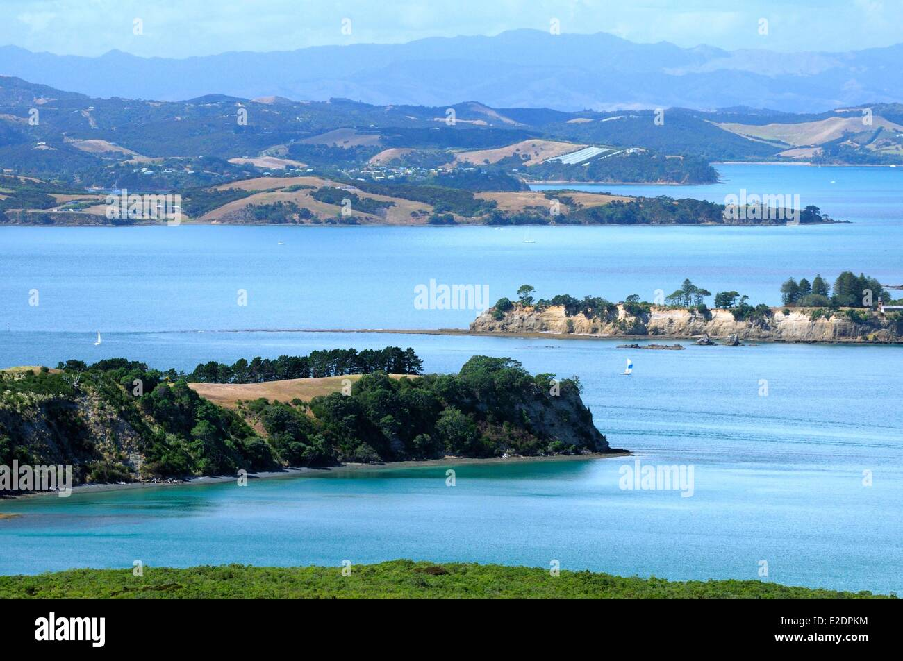 New Zealand North island the Hauraki Gulf near Auckland - Stock Image
