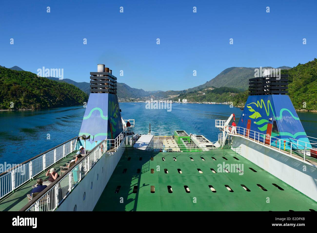 New Zealand North island on the ferry between Picton (South island) and Wellington (North island) - Stock Image