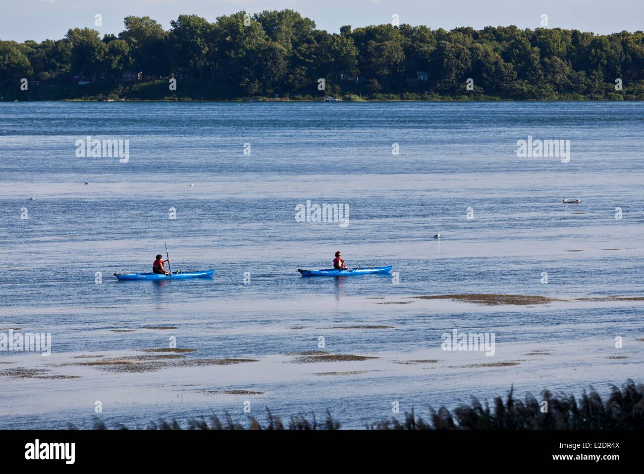 Canada Quebec province Montreal kayaking on the St. Lawrence River - Stock Image