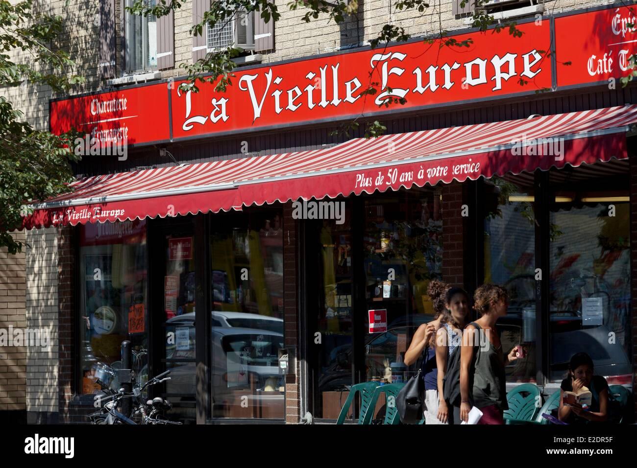 Canada Quebec province Montreal Plateau Mont-Royal the Boulevard Saint-Laurent La Vieille Europe groceries - Stock Image