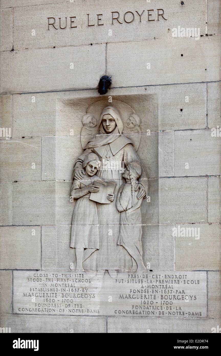 Canada Quebec province Montreal Old Montreal bas-relief of Marguerite Bourgeoys one of the founders of the city - Stock Image