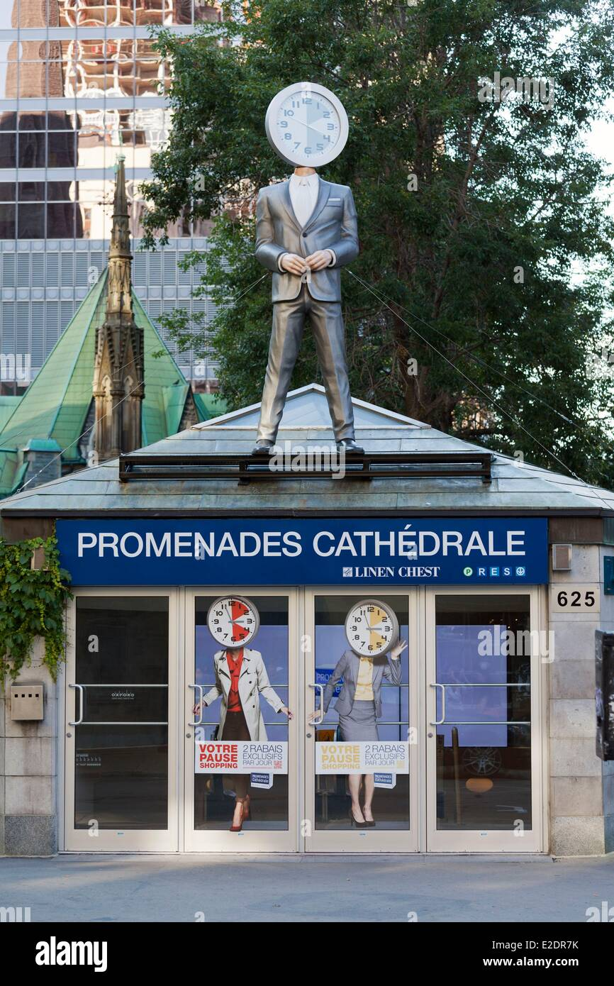 Canada Quebec province Montreal downtown the underground mall Les promenades de la Cathedrale - Stock Image
