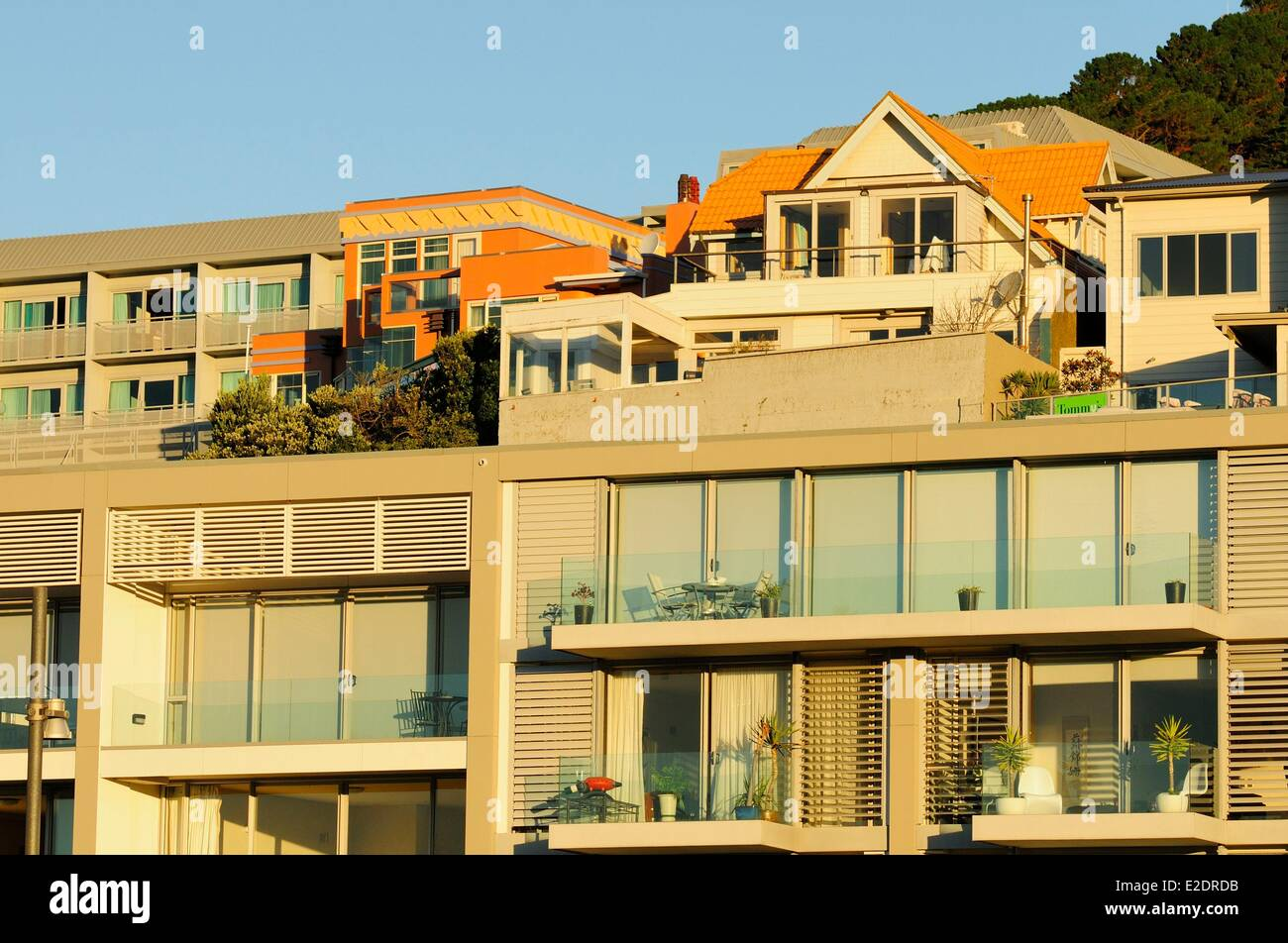 New Zealand North island Wellington houses on the slopes of Mount VIctoria overlooking Oriental Bay Stock Photo