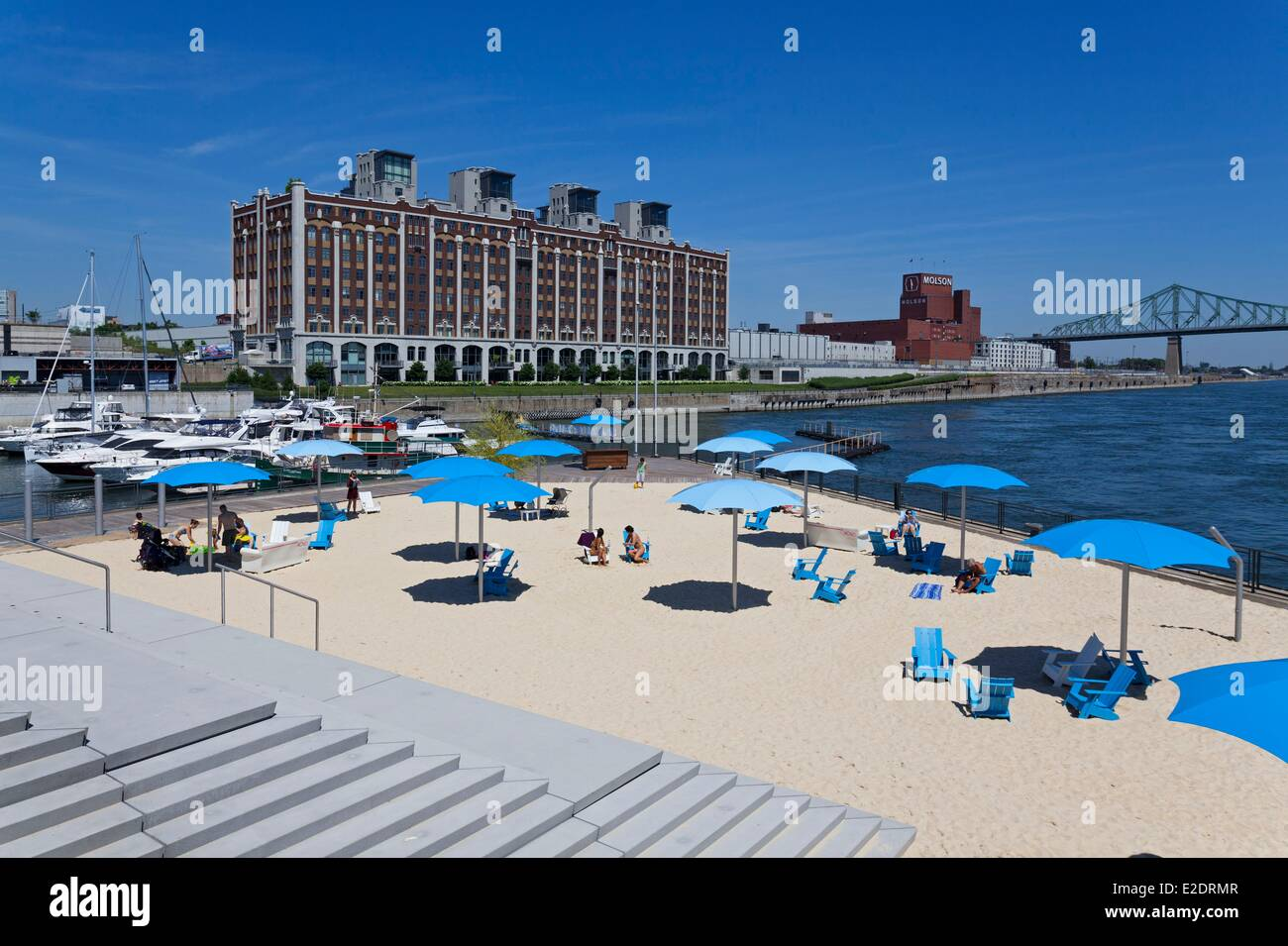 Canada Quebec province Montreal Old Port the beach La plage de l'Horloge urban concept inspired by Paris Plages - Stock Image
