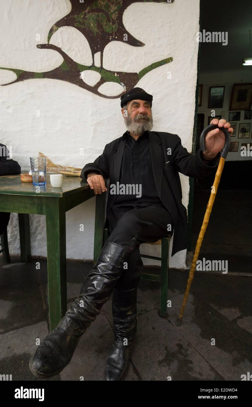 Greece Crete Anogia old man in partisan outfit - Stock Image
