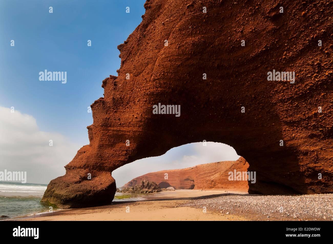 Morocco Souss region Atlantic coast in the South of Agadir Mirleft the red cliffs of el Djazirah - Stock Image
