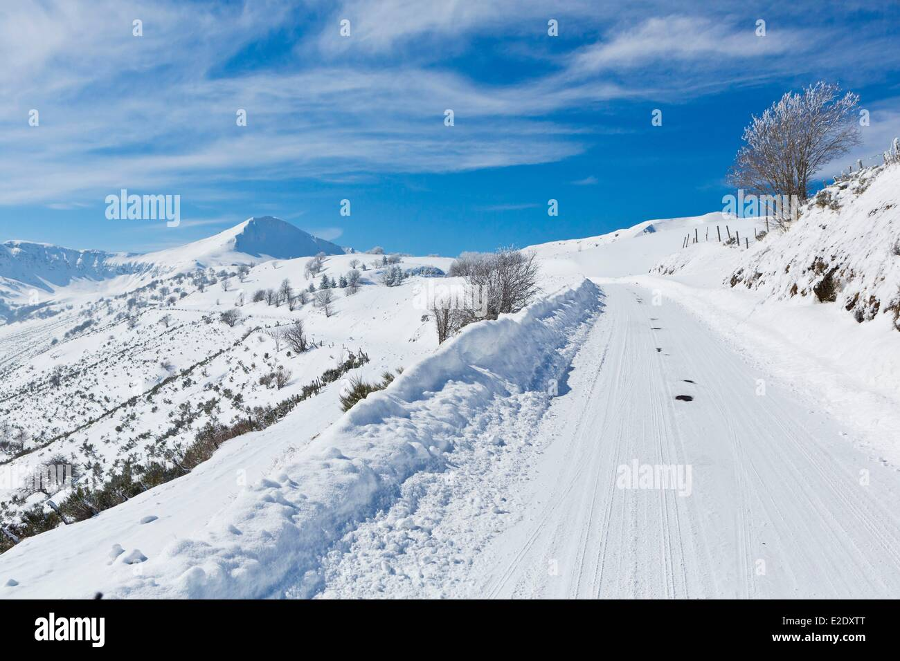 France Cantal Serre path Impradine valley Parc Naturel Regional des Volcans d'Auvergne (Auvergne Volcanoes Natural - Stock Image