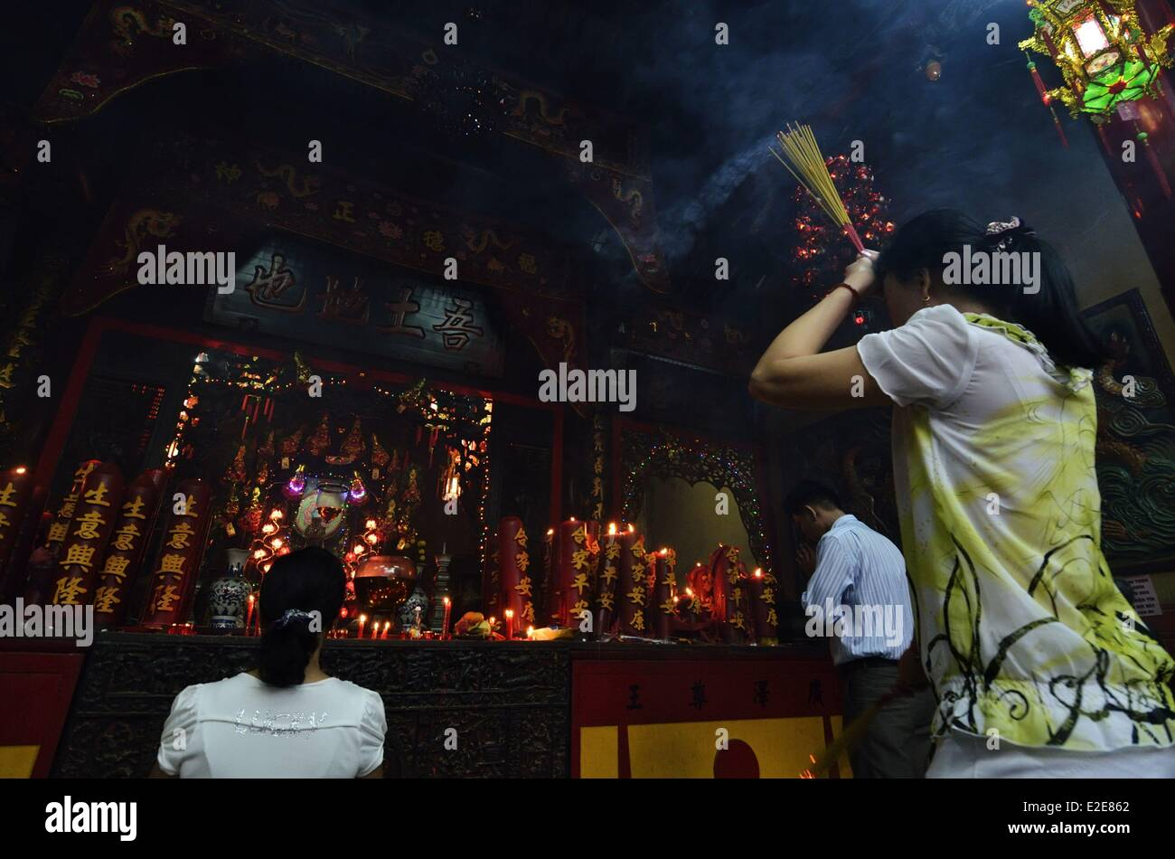 Vietnam Ho Chi Minh City Cholon Ong Bon ou Nhi Phu Hoi Quan Pagoda built by the chinese community of Fujian and - Stock Image