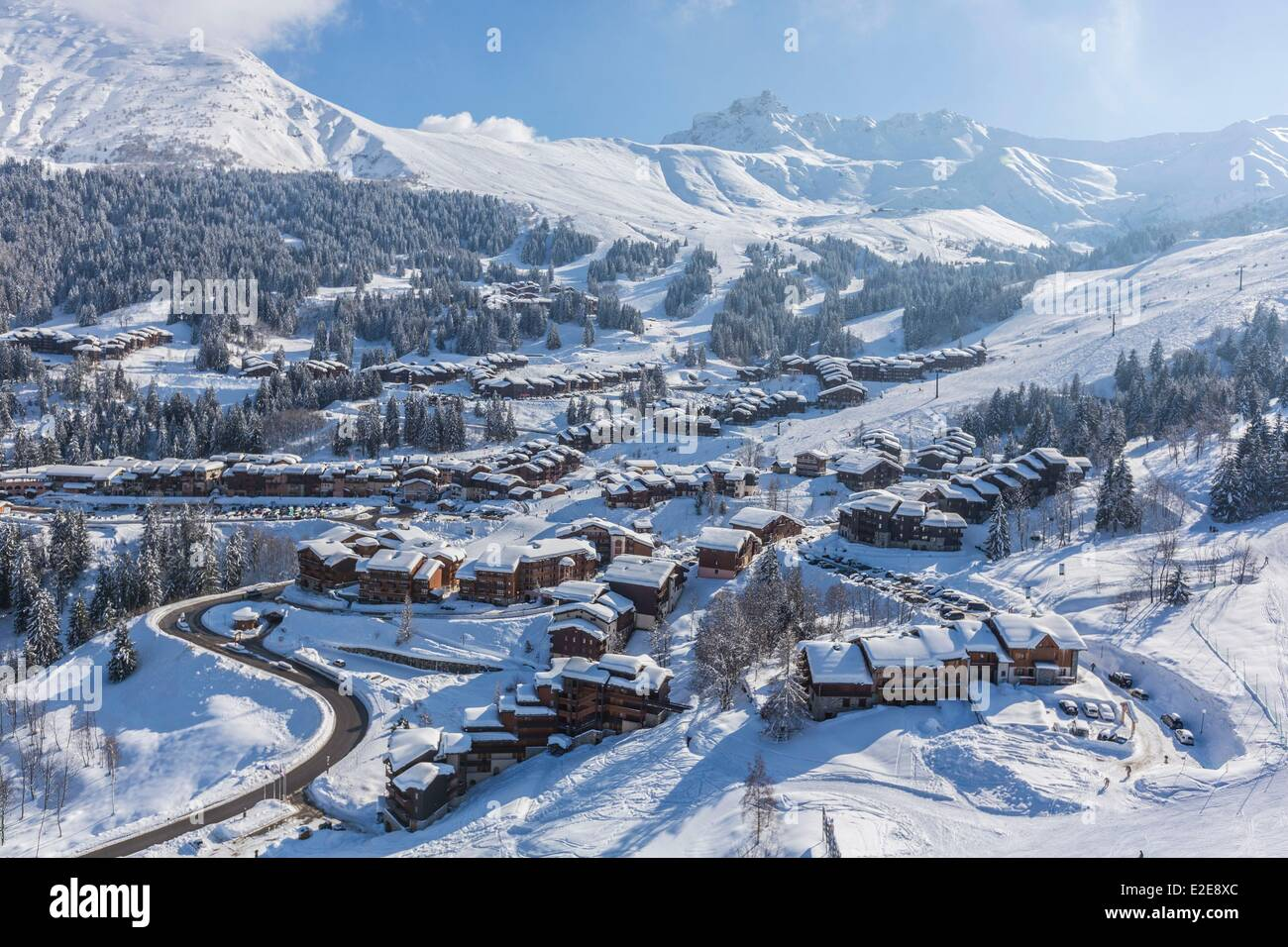 France, Savoie, Valmorel, Massif of the Vanoise, Tarentaise valley, view of the Pointe Du Grand Nielard (2544m) - Stock Image