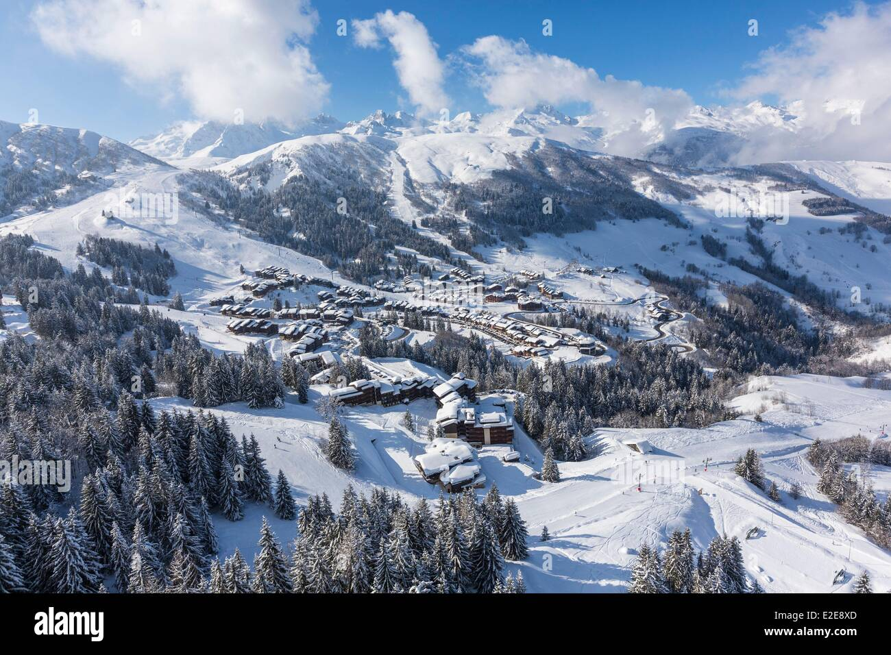 France, Savoie, Valmorel, Massif of the Vanoise, Tarentaise valley, view of the Chaine of the Lauziere (vue aerienne) - Stock Image