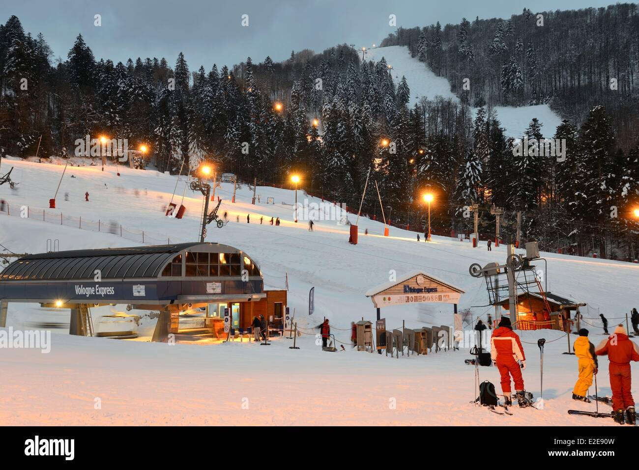 france, vosges, la bresse, la bresse hohneck ski area stock photo