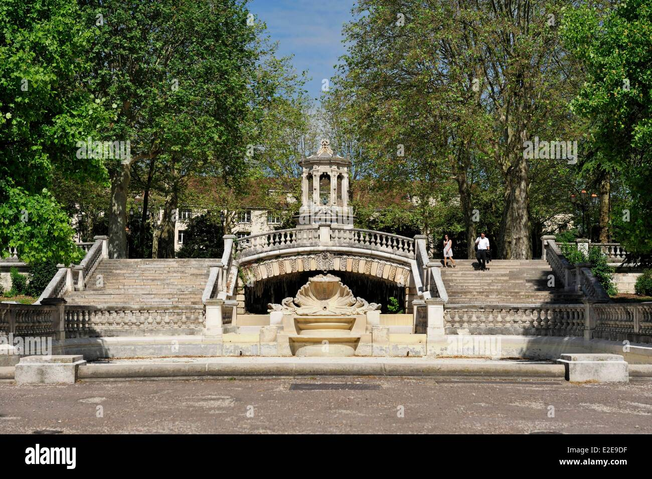France, Cote d'Or, Dijon, Darcy garden, basin drained of water and fountain in front of the stairs - Stock Image