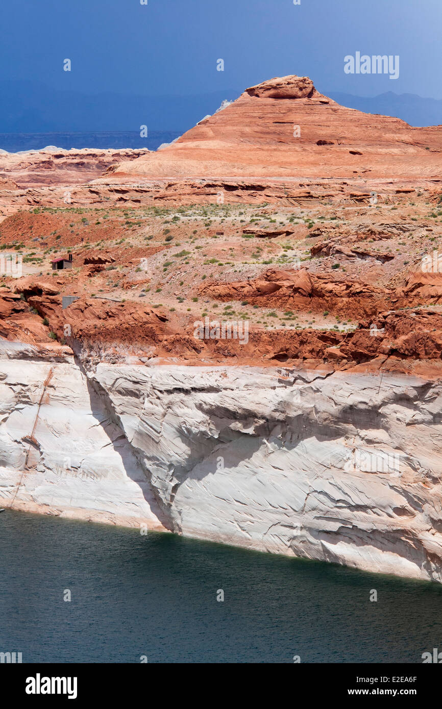 """""""Bathtub Ring"""" on Lake Powell at Glen Canyon Dam Shows Drought Effects Stock Photo"""