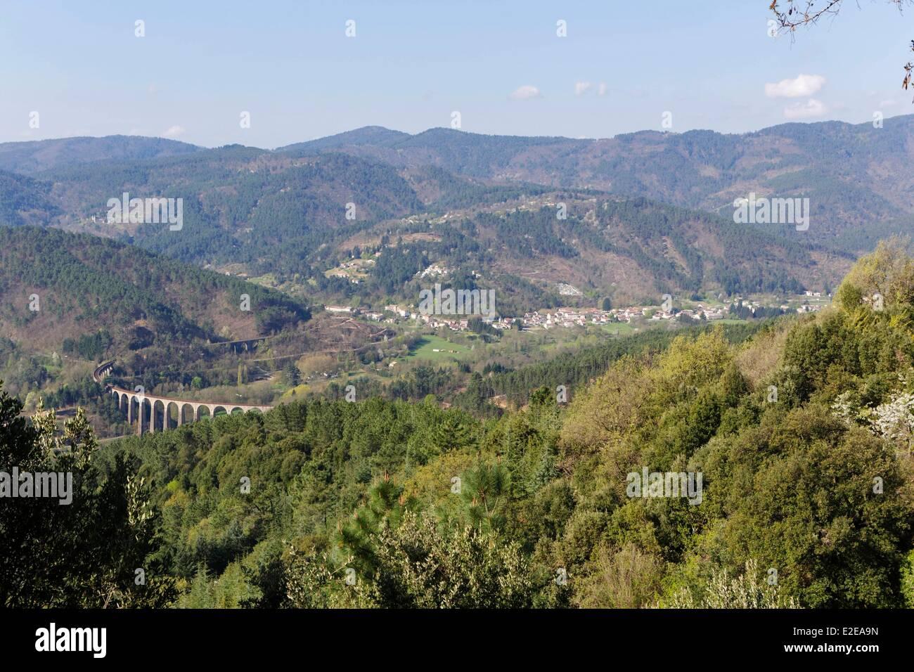 France, Gard, the railway line Vern to Cevennes, around Genolhac - Stock Image