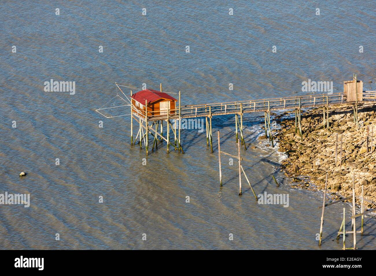 France, Charente-Maritime, Angoulins, fishery (aerial photography) - Stock Image