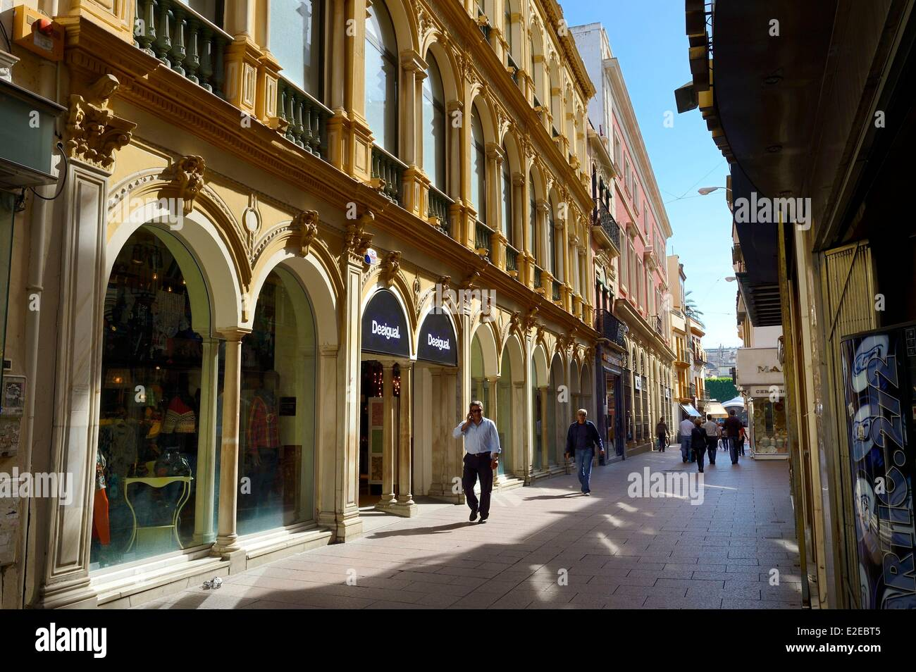 Spain Andalusia Seville Shops Of Calle Sierpes Stock