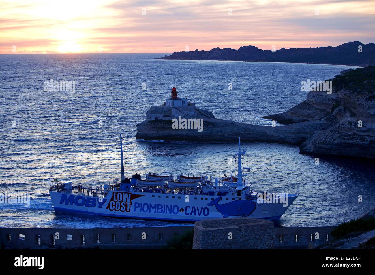 France, Corse du Sud, Bonifacio, flagship Madonetta, ferry from Sardinia, Cap de Feno in the background - Stock Image