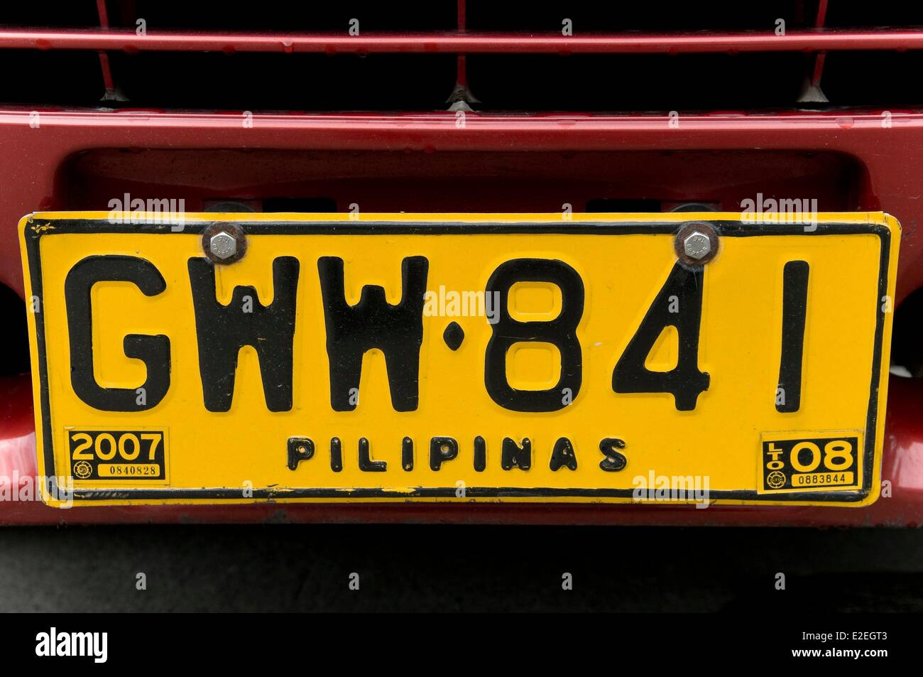 Philippines, Manila, local vehicle registration plate - Stock Image