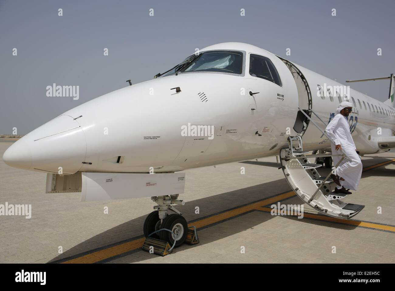 United Arab Emirates, Abu Dhabi, Sir Bani Yas island, ahmad Bin Ahmad private jet - Stock Image