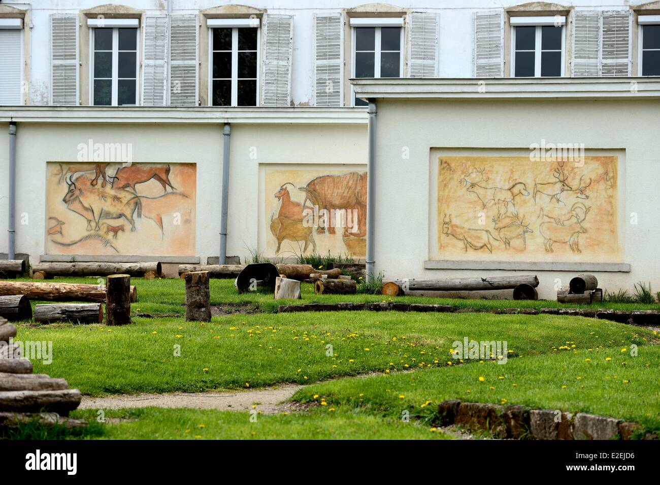 France, Vosges, Darney, former Recollect convent, town hall, Animation Centre of Prehistory - Stock Image