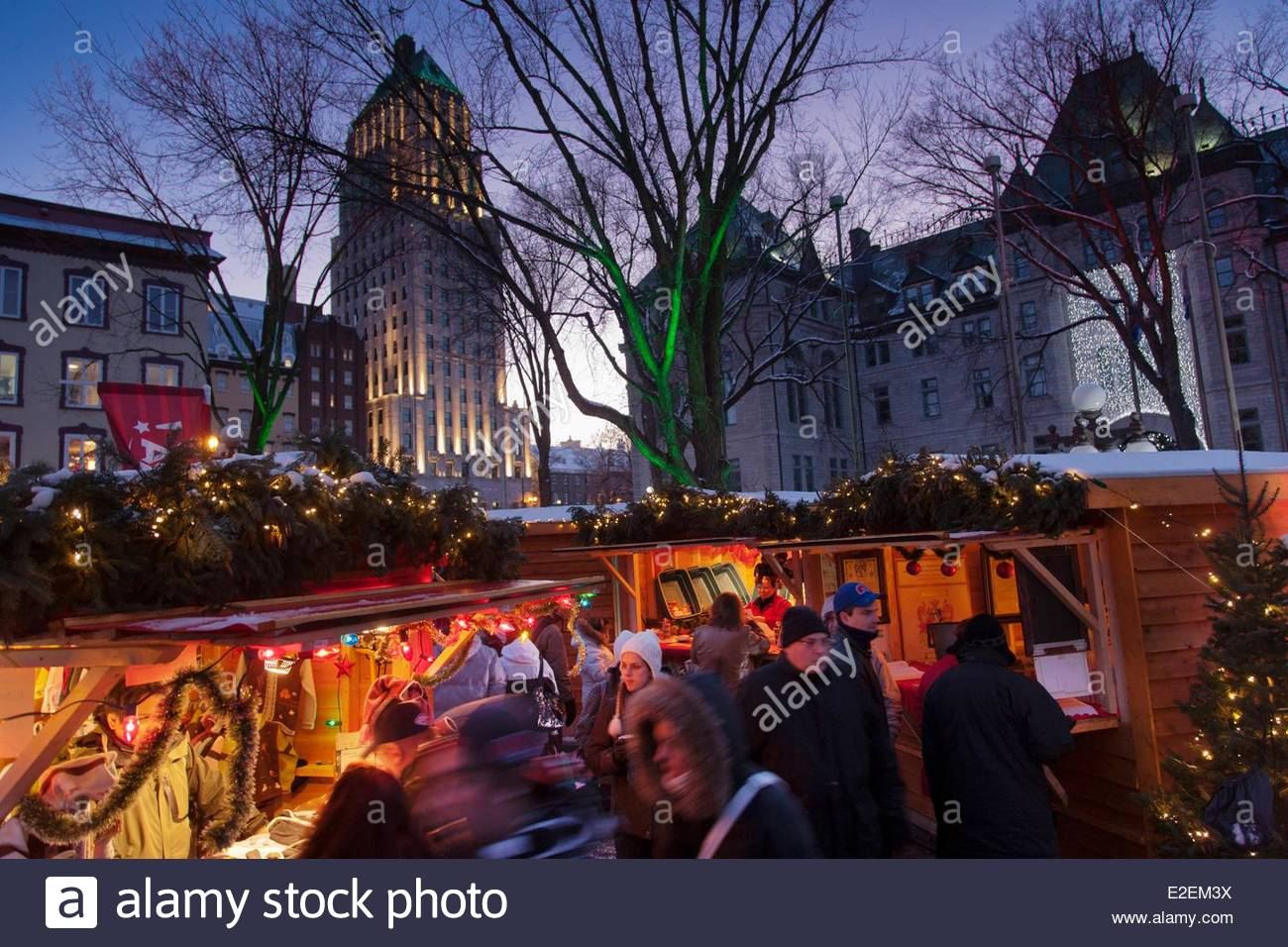 Old Quebec City Christmas Market.Canada Province Of Quebec Quebec Christmas Market In The