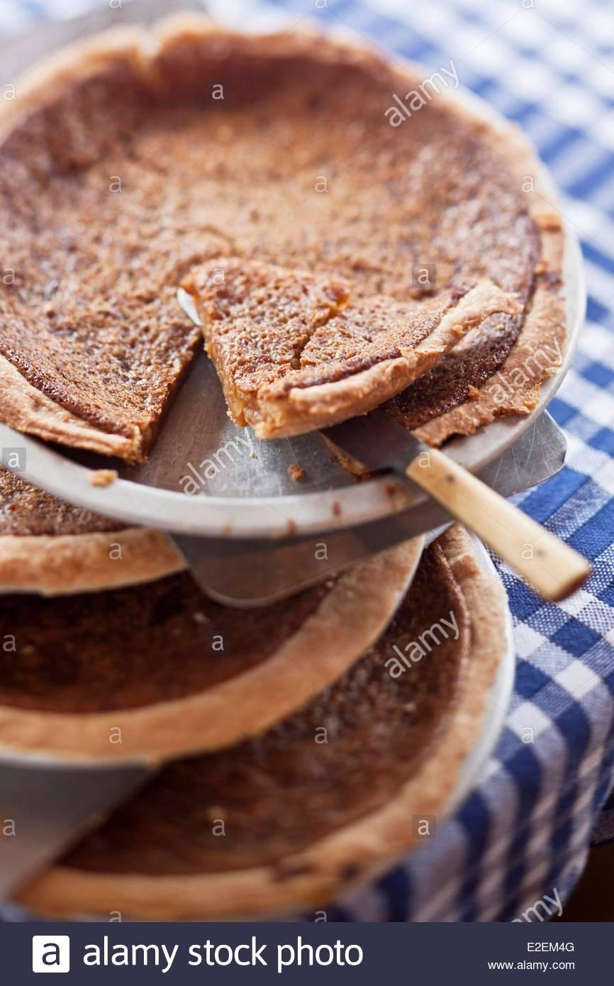 Canada, Province of Quebec, Quebec, maple syrup pie, Recipe Restaurant Aux Anciens Canadiens, Rue Saint Louis - Stock Image