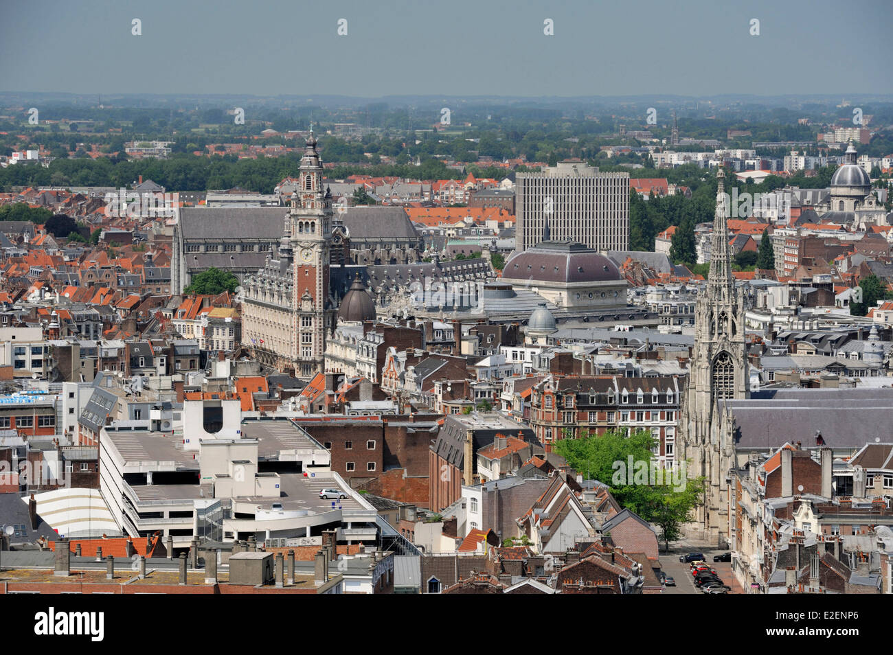 France, Nord, Lille, belfry of the ICC as seen from the belfry of the town hall - Stock Image