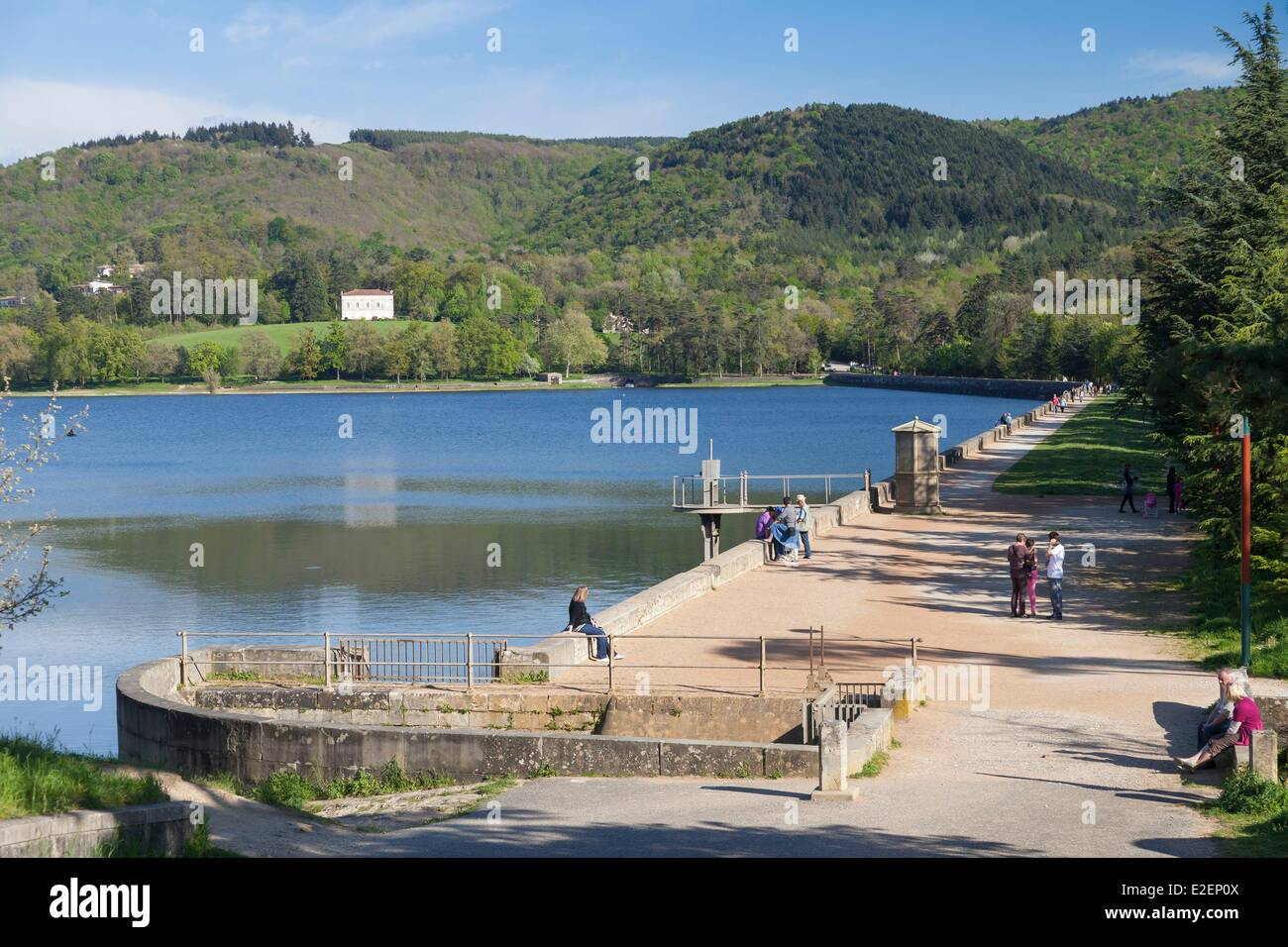 France, Haute Garonne, Revel, the retention dam and Saint Ferreol lake, listed as World Heritage by UNESCO - Stock Image