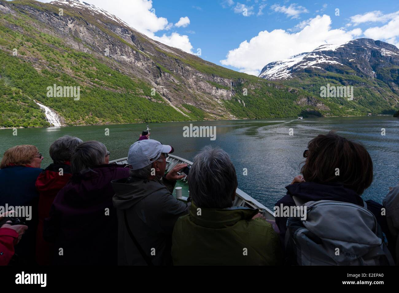 Norway, More og Romsdal County, MS Nordlys cruise ship in Geirangerfjord, Hurtigruten - Stock Image