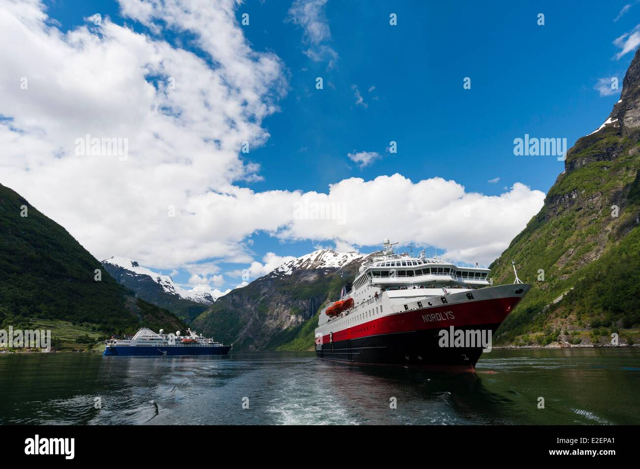 Norway, More og Romsdal County, cruise ships in Geirangerfjord - Stock Image