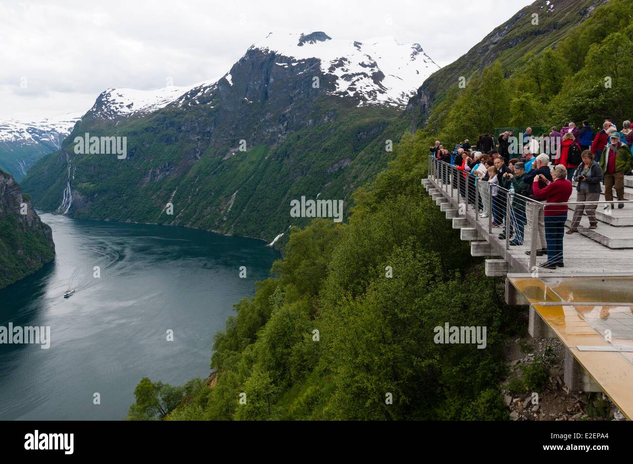 Norway, More og Romsdal County, tourist at Geirangerfjord - Stock Image