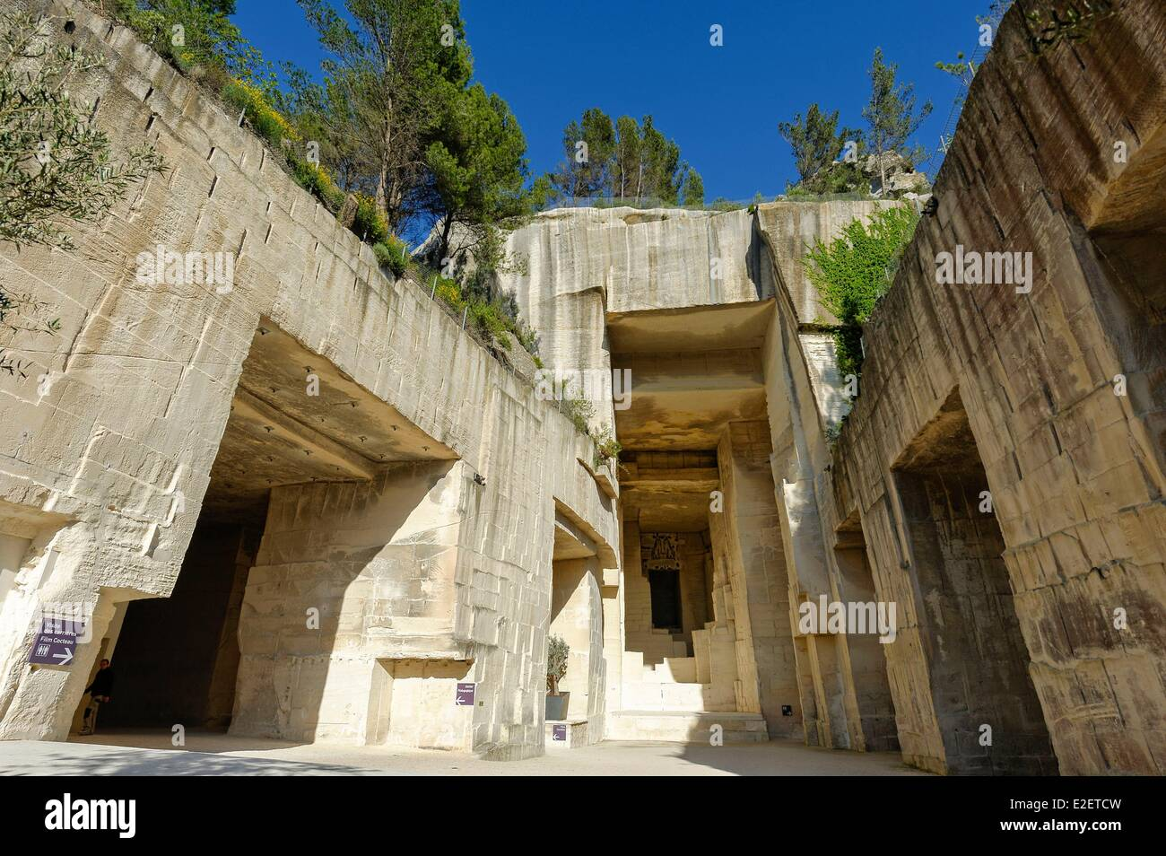 France Bouches du Rhone Les Baux de Provence Careers of Light former place of extraction of the white limestone - Stock Image
