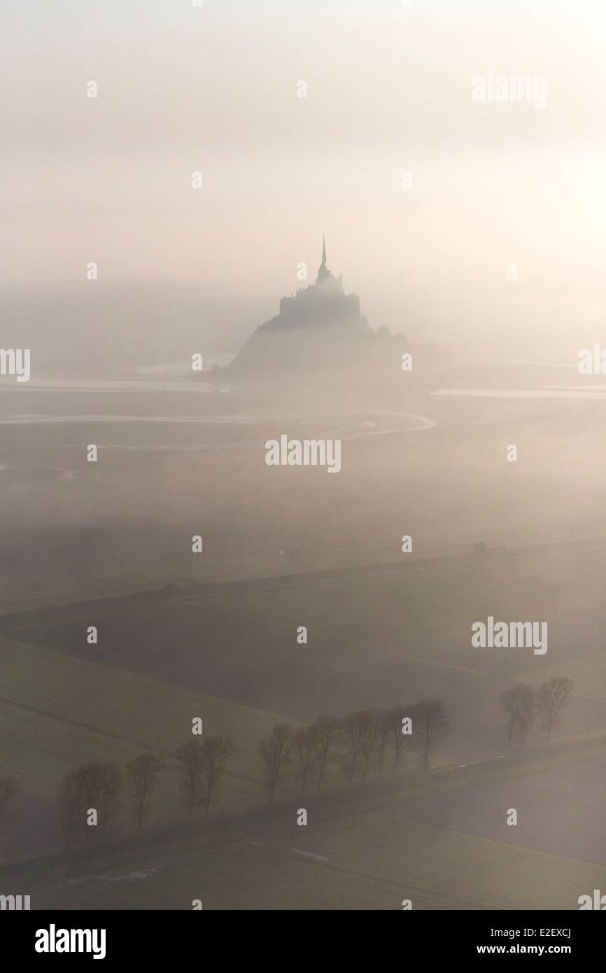 France, Manche, Mont Saint Michel bay, listed as UNESCO World Heritage, Mont Saint Michel (aerial view) - Stock Image