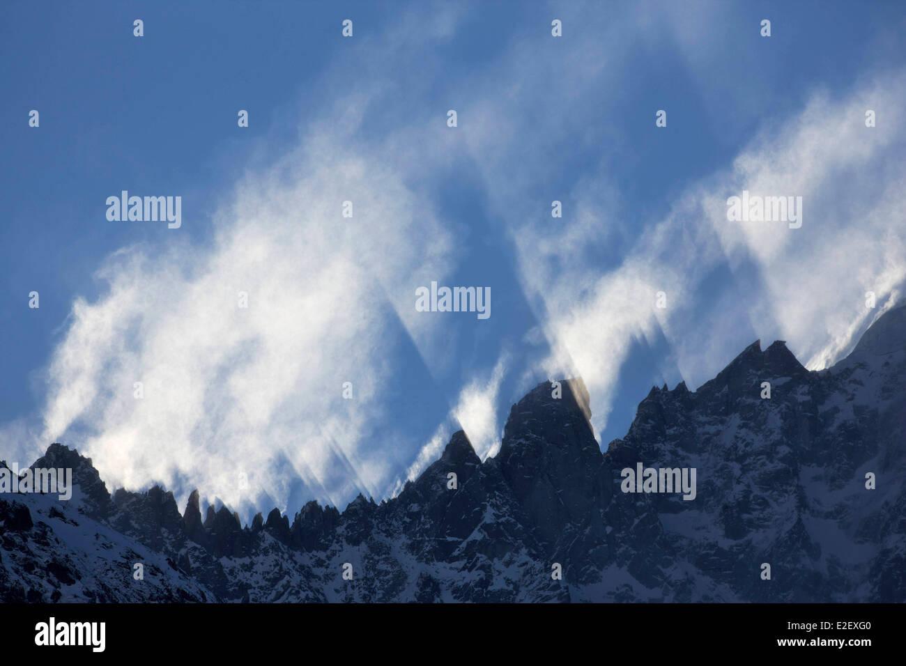 France, Haute Savoie, Chamonix, clouds movements on the Grands Montets ridge, Chamonix valley - Stock Image