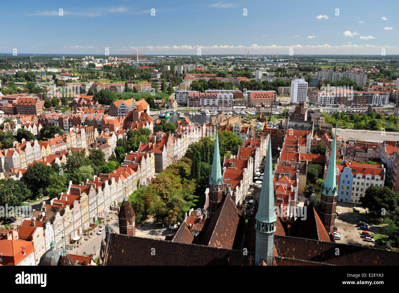 Poland, Pomerania, Gdansk, View of Gdansk from the top of St. Mary's Basilica Stock Photo
