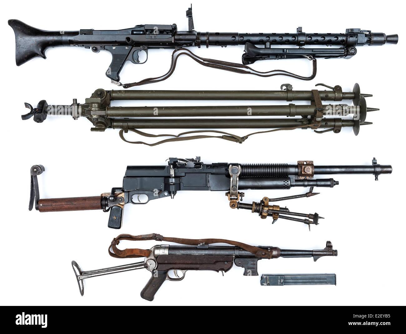 World War Two machine guns and a tripod - Stock Image
