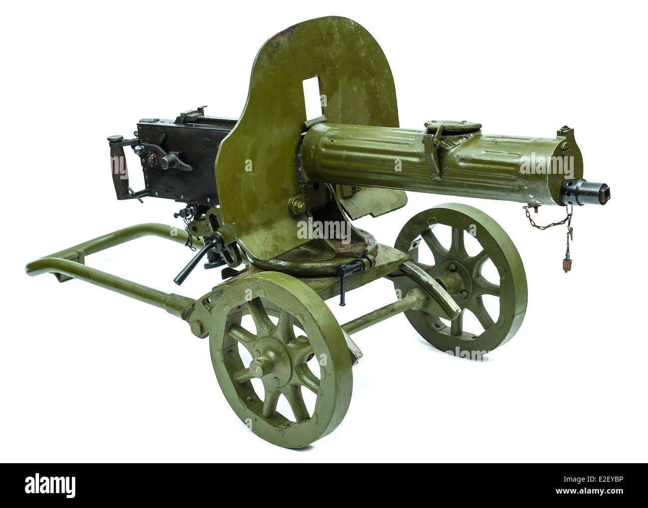 Russian World War Two Maxim heavy machine gun on wheels - Stock Image