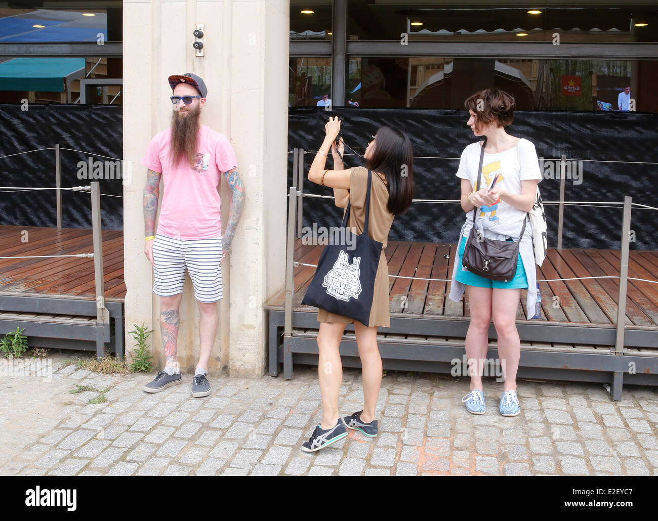 A man is pictured with with mobile phone during Sonar advanced music festival in Barcelona, Spain - Stock Image